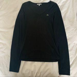 Lacoste Black V-Neck Long Sleeve T-Shirt